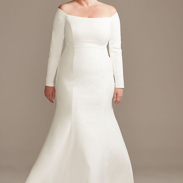 David's Bridal Collection Off-Shoulder Button Back Plus Size Wedding Dress $399.20, was $499