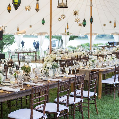 Reception table setting with lanterns