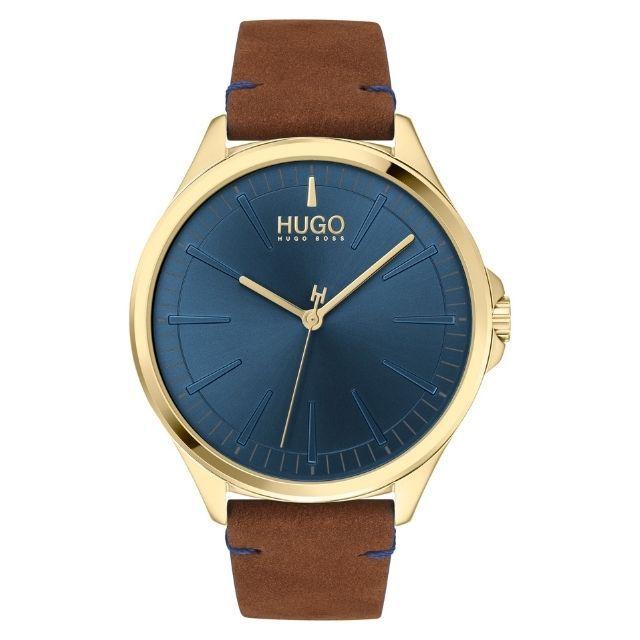 Hugo Smash Leather Leather Strap Watch