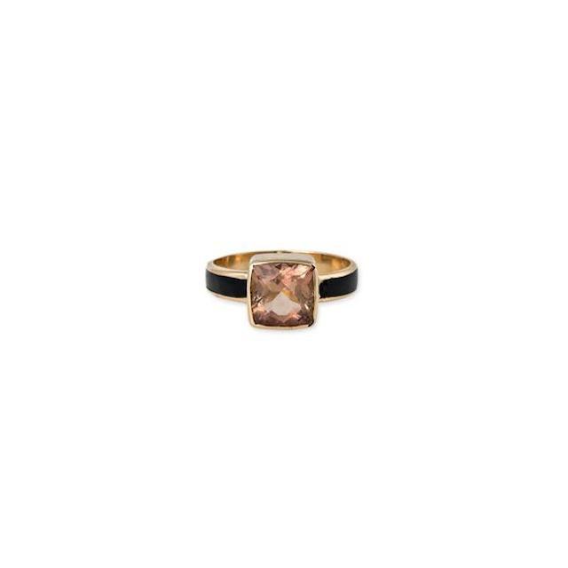 Jacquie Aiche Morganite + Onyx Solitaire Ring