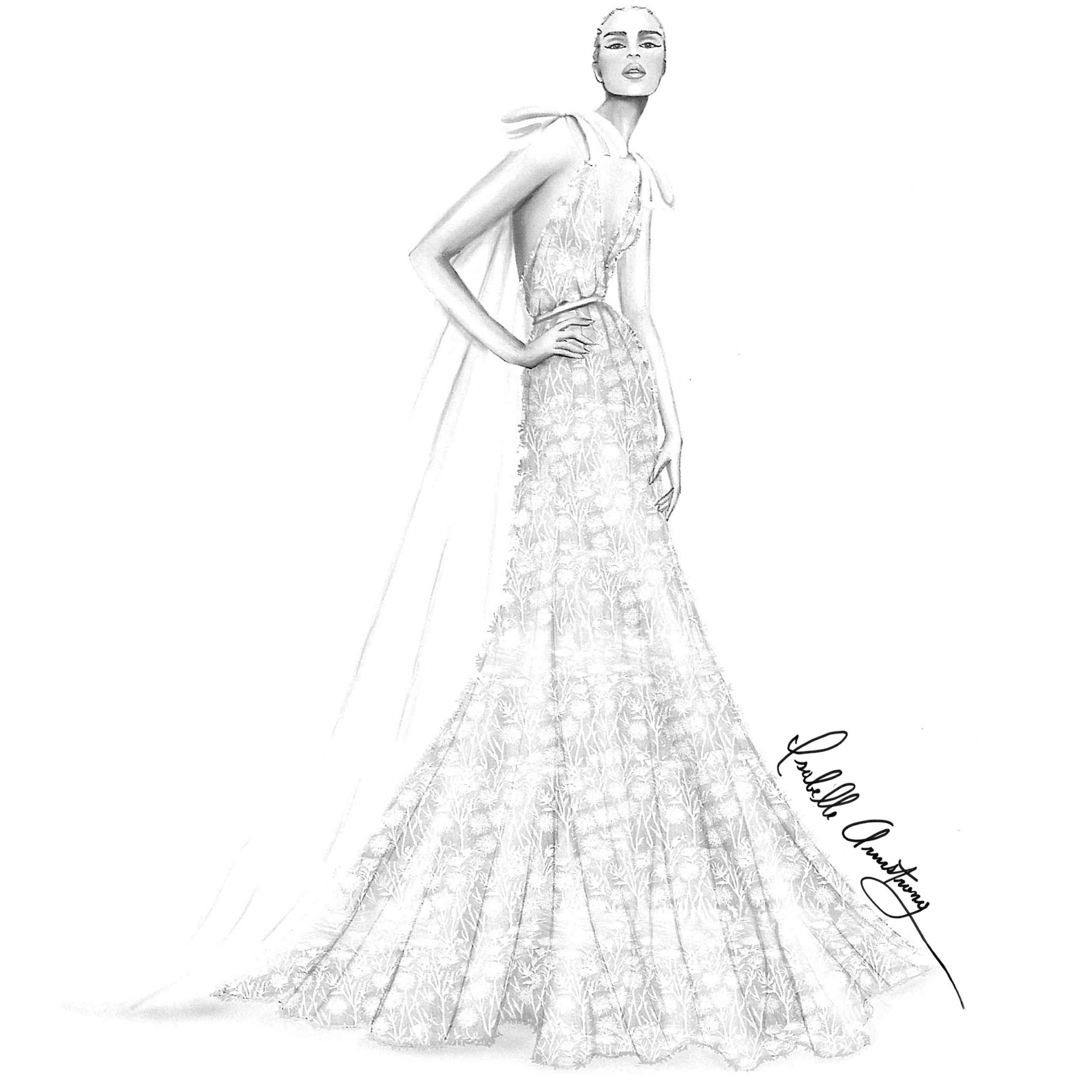 Isabelle Armstrong Bridal Fashion Week Fall 2020 Sketch