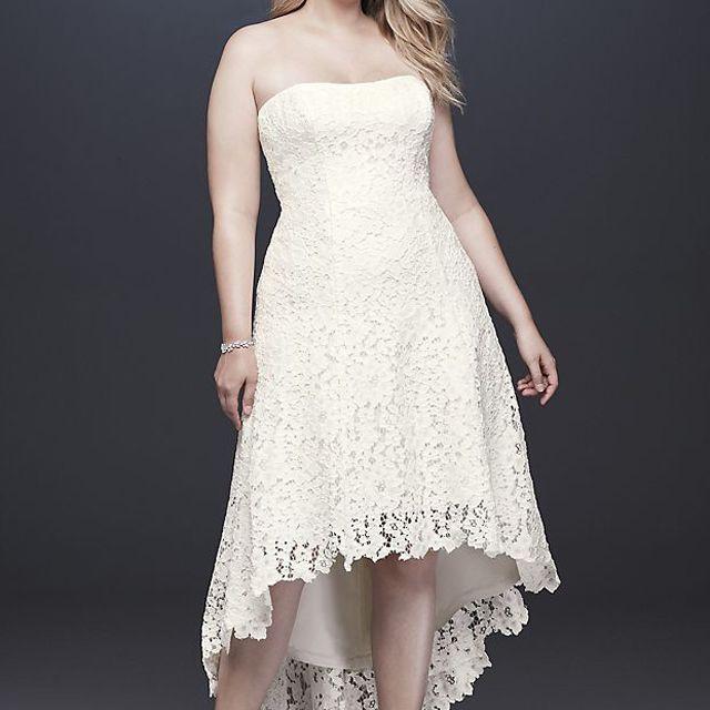 Galina High-Low Tea-Length Lace Plus Size Wedding Dress $279.20, was $349