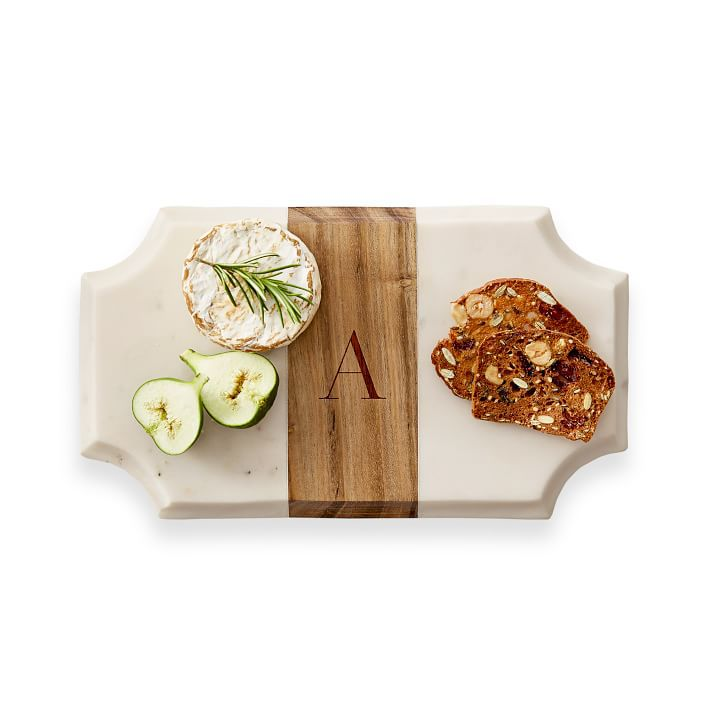 Wood And Marble Beveled Cheese Board