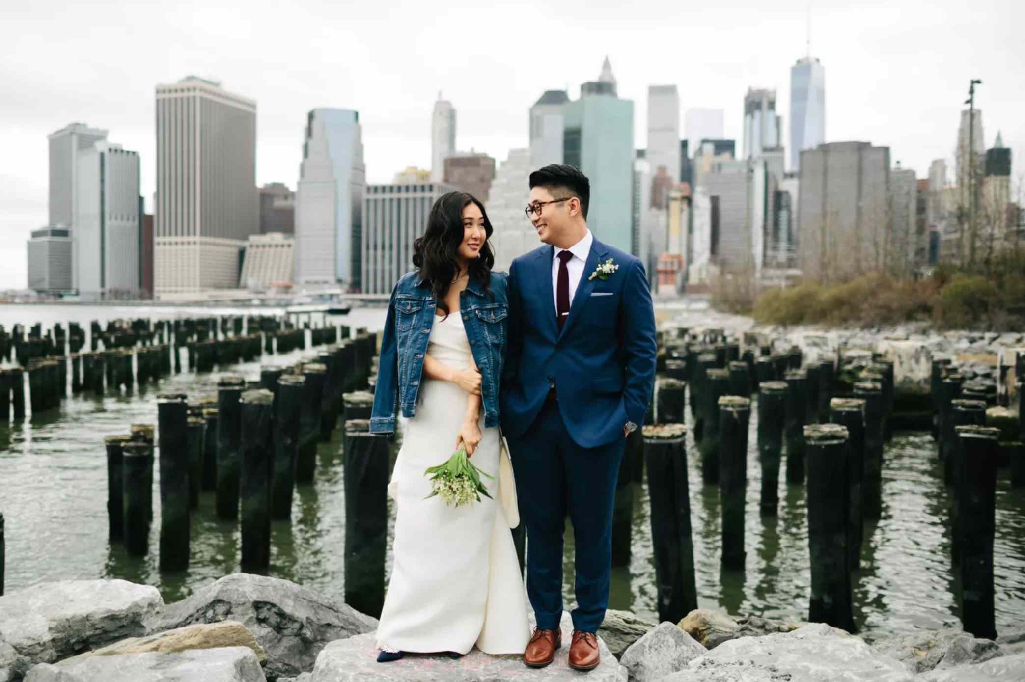 Newlyweds in front of NYC skyline