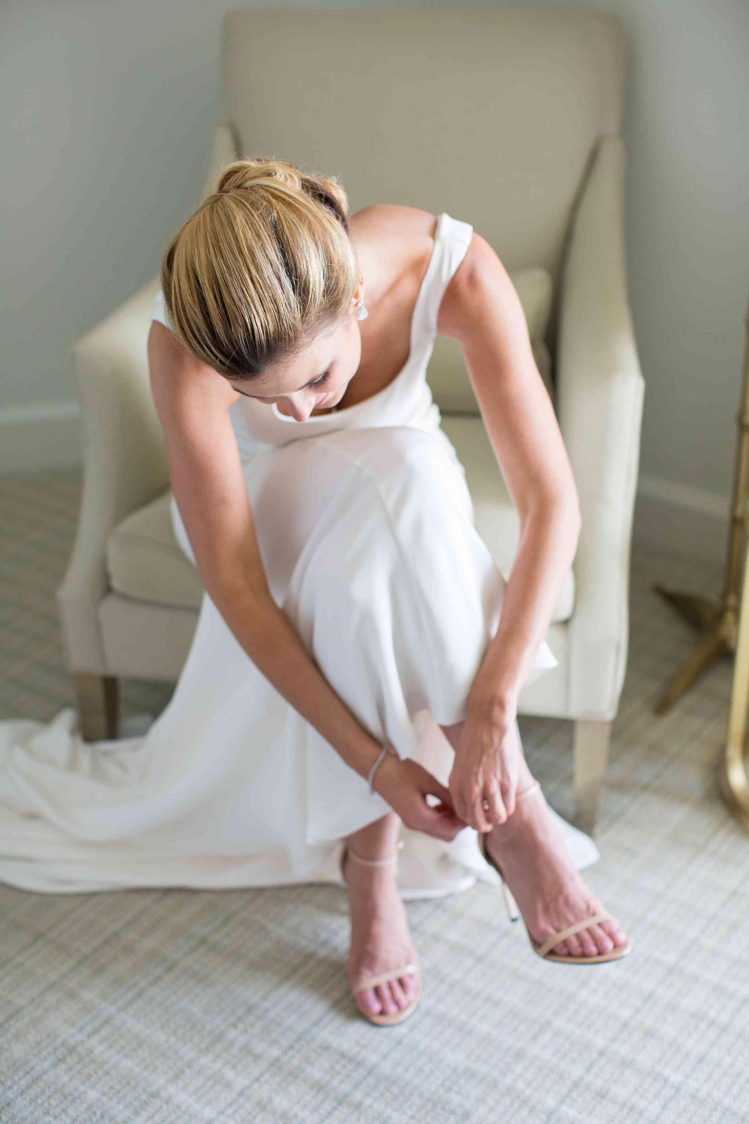 Solo bride getting ready