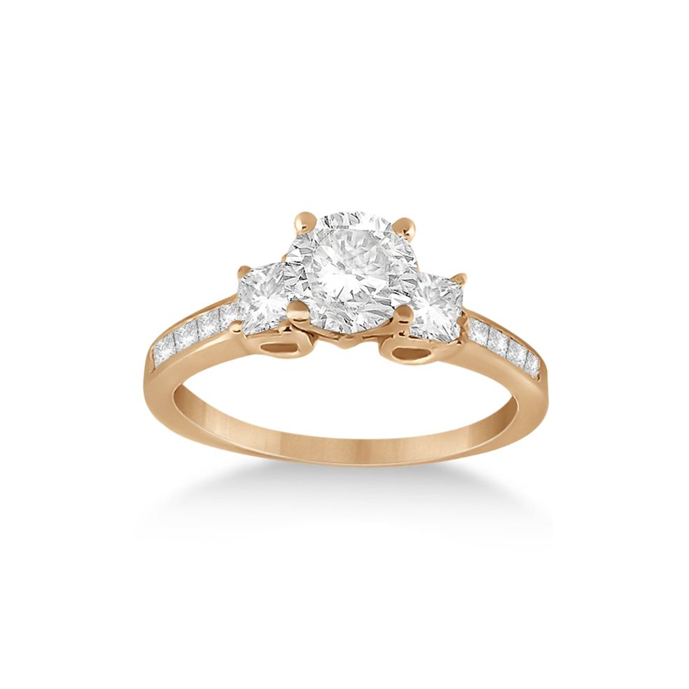 Allurez Three-Stone Princess Cut Diamond Engagement Ring in 14k Rose Gold (0.64 ctw)