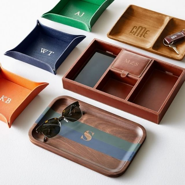 Mark & Graham Monogrammed Rustic Leather Tech Catchall