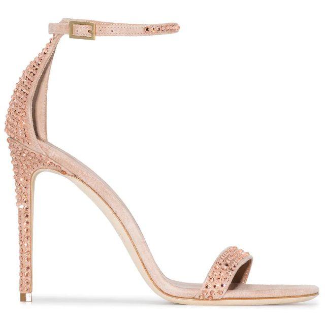 Rose gold stilettos embellished with crystals