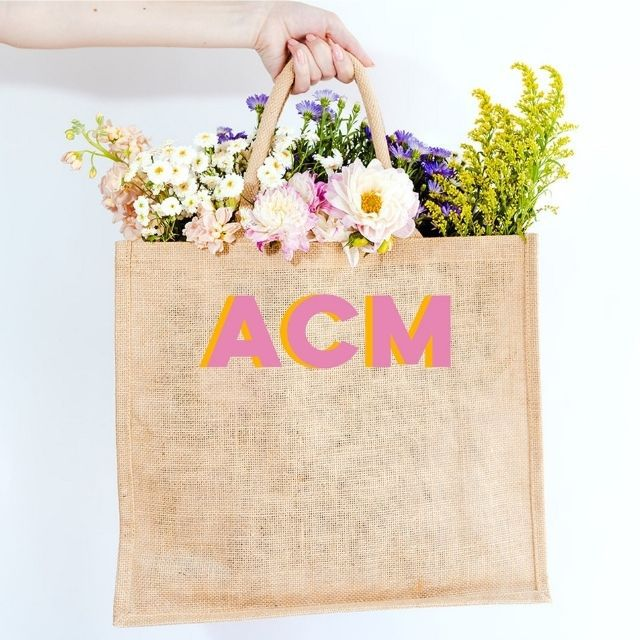 Sprinkle with Pink Monogram Jute Carryall from Etsy