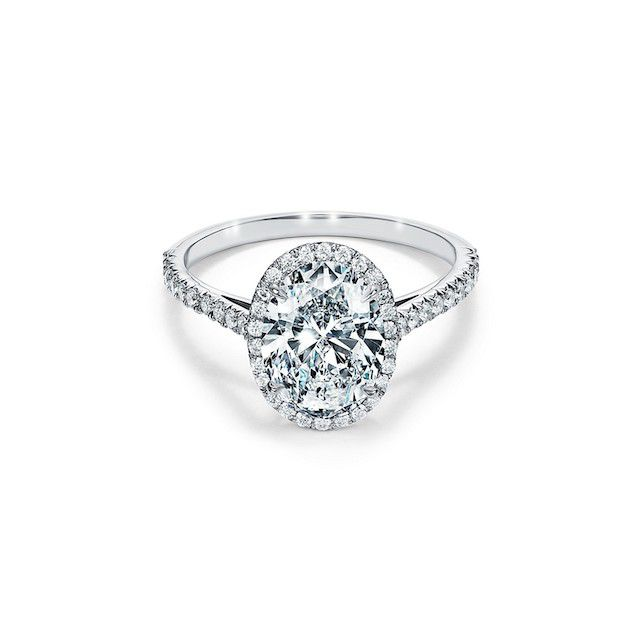 Tiffany & Co. Oval Halo Engagement Ring with a Diamond Platinum Band