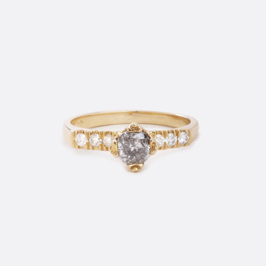 Margaret Cross Salt and Pepper Diamond Ring