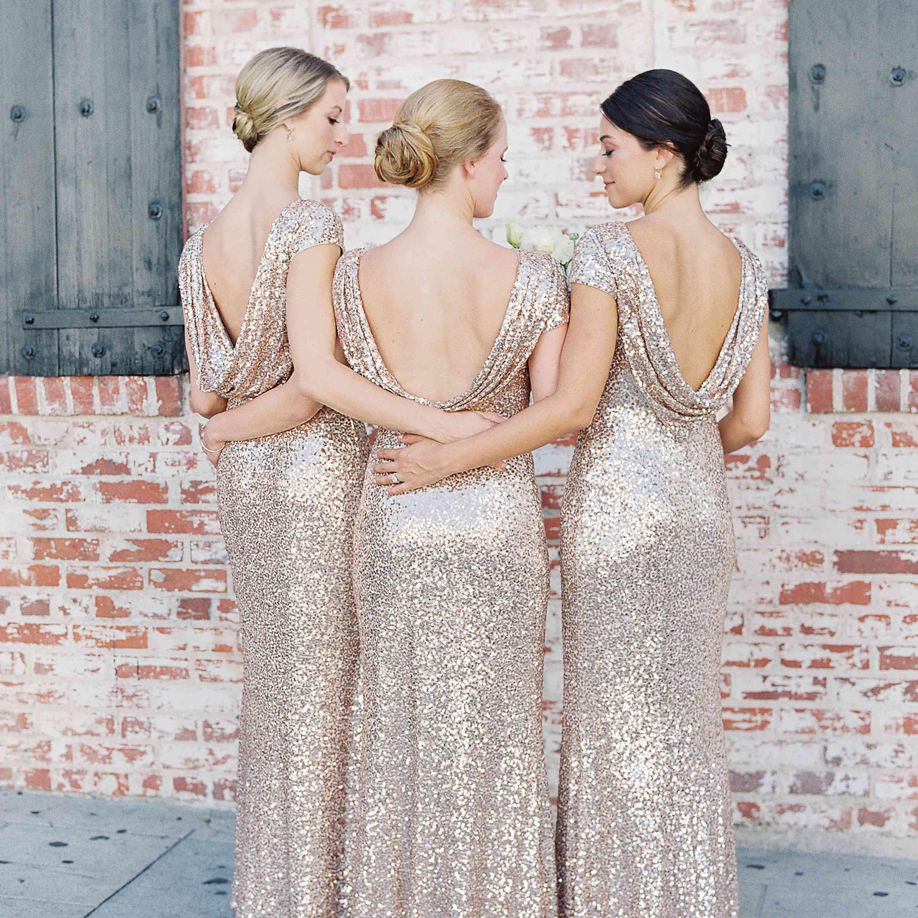 Bridesmaids in gold dresses