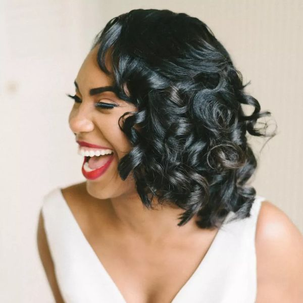 Tight bouncy curls for wedding
