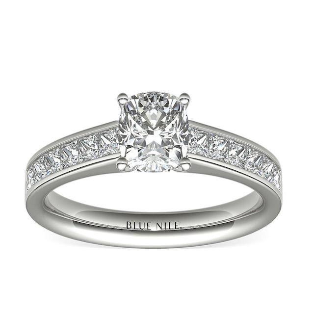 Blue Nile Princess Cut Channel Diamond Set Engagement Ring