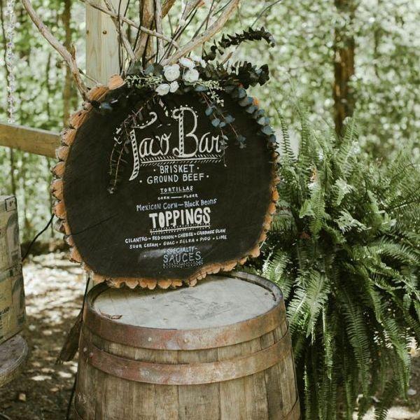 Tree Stump Chalkboard Wedding Menue