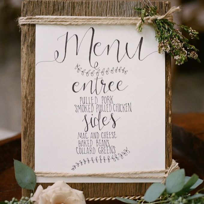 Wedding Menu on Wooden Canvas with Twine