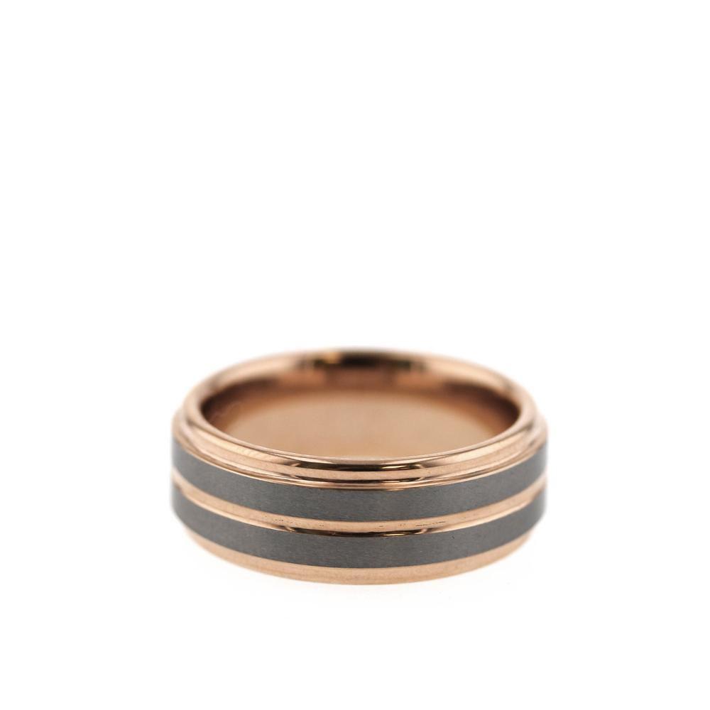 Men Women Personal Engrave Rose Gold Titanium Wedding Ring 5mm Sz G to W 088