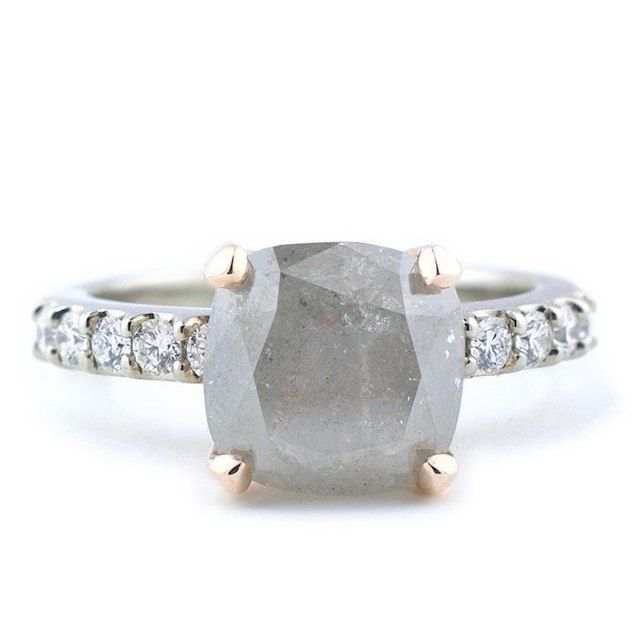 Abby Sparks The Ellen Natural Grey Diamond Mixed Metal Engagement Ring