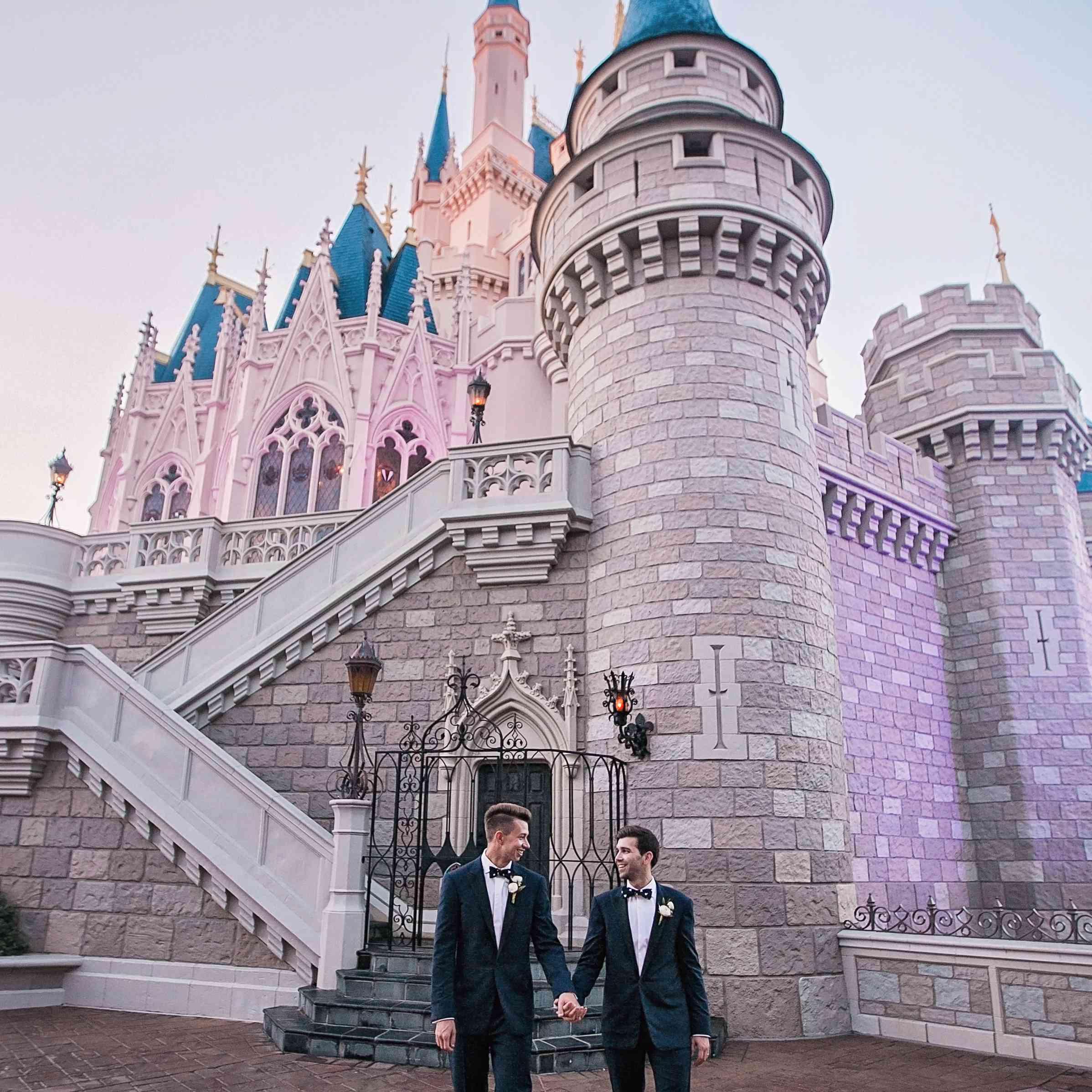 Grooms outside Cinderella's Castle.