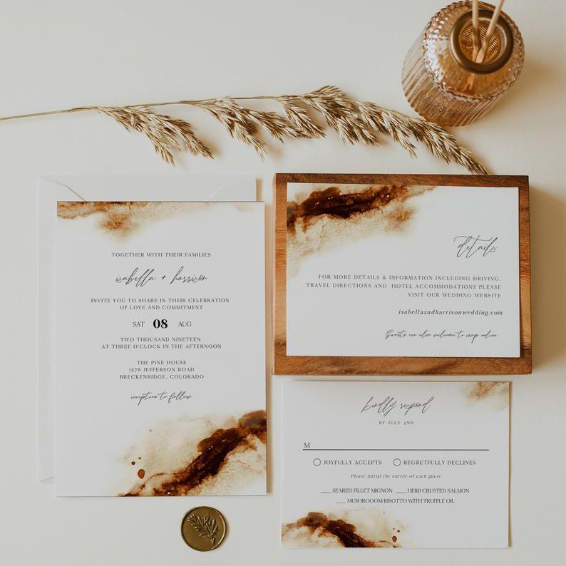 Rust wedding invitation suite