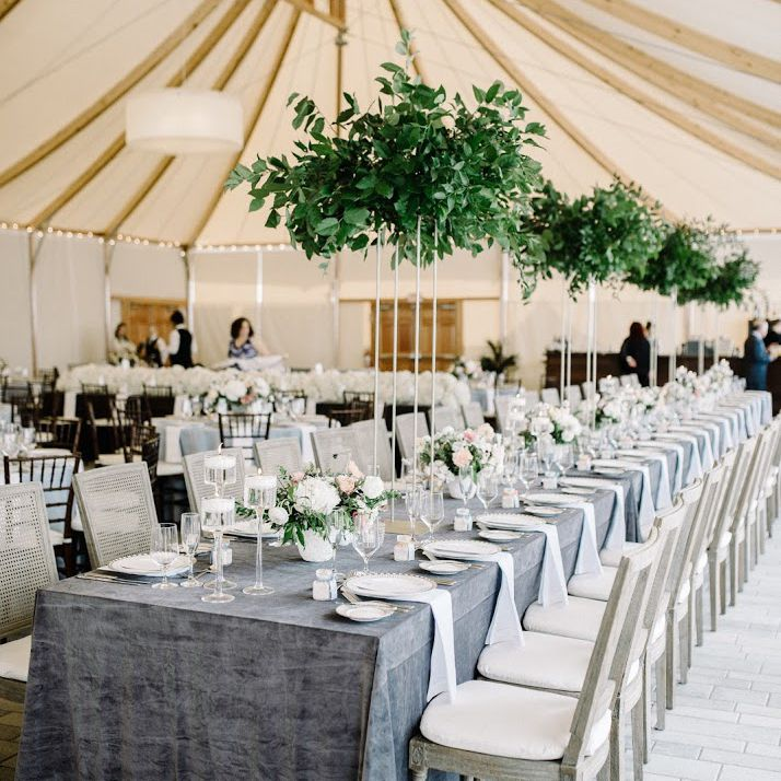 A long table with hanging greenery.