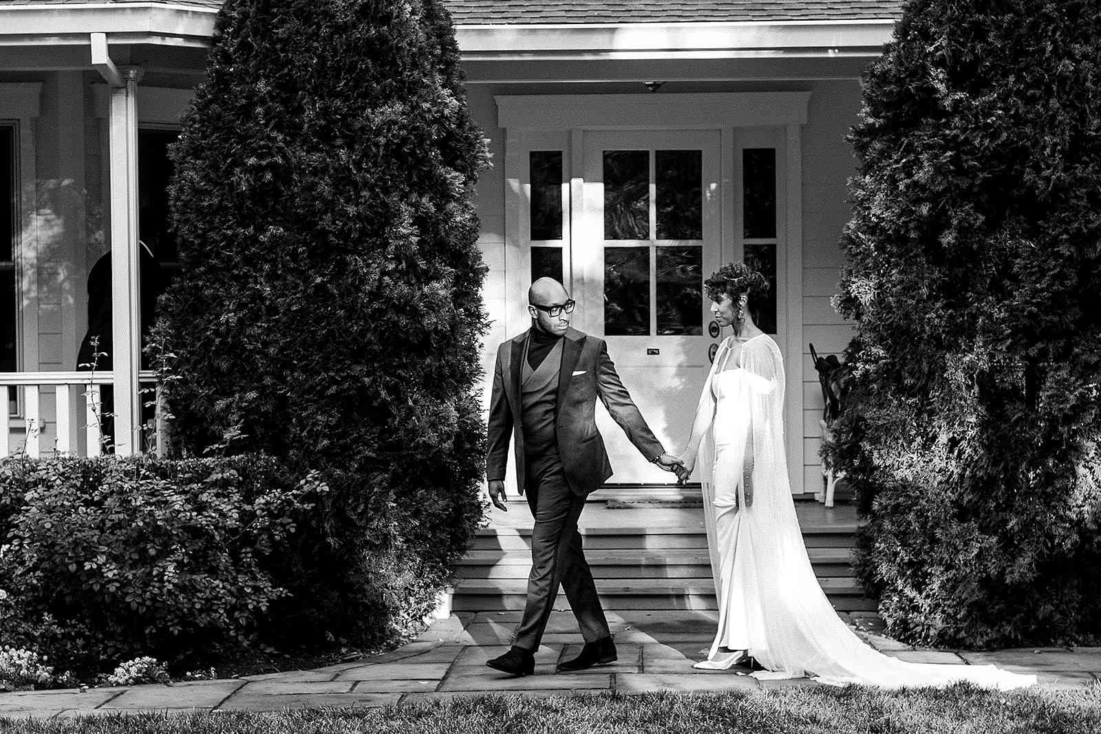 bride and groom take a walk