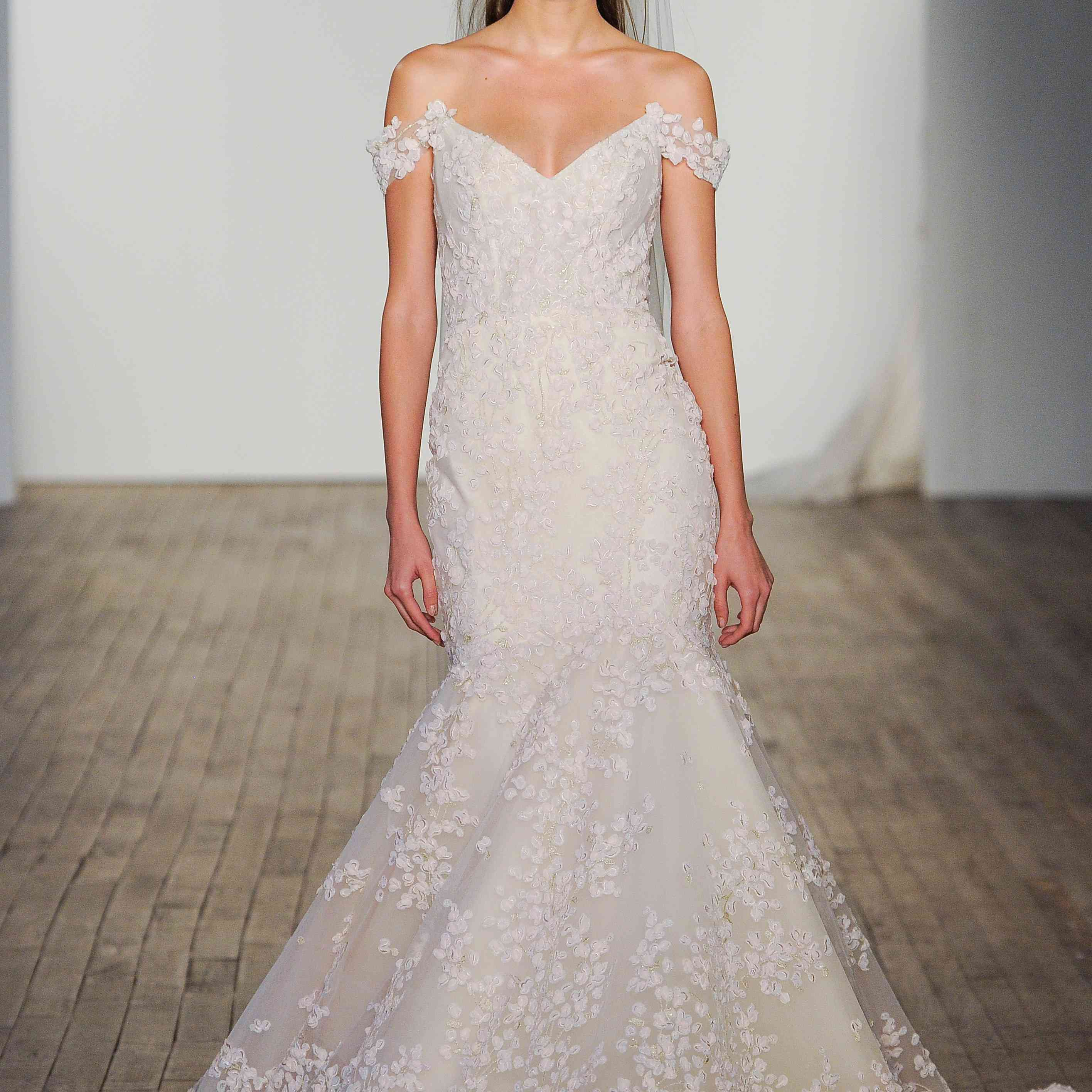 Ines off-the-shoulder fit-and-flare wedding dress