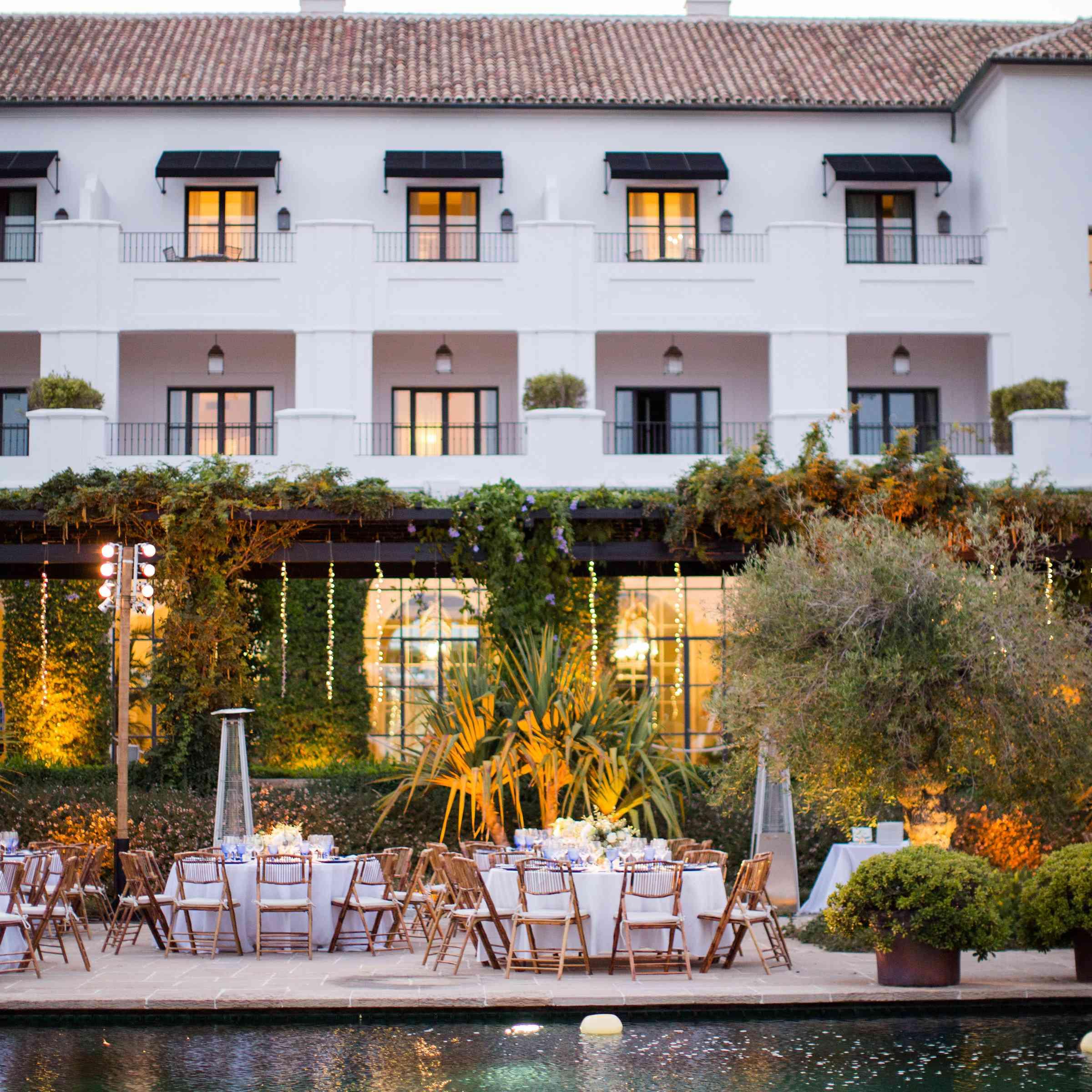 pool side reception Finca Cortesin Hotel