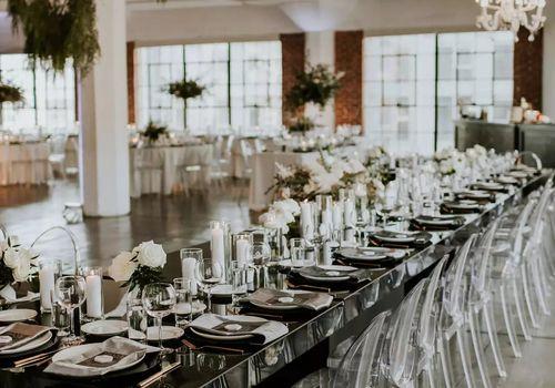 black and white reception decor