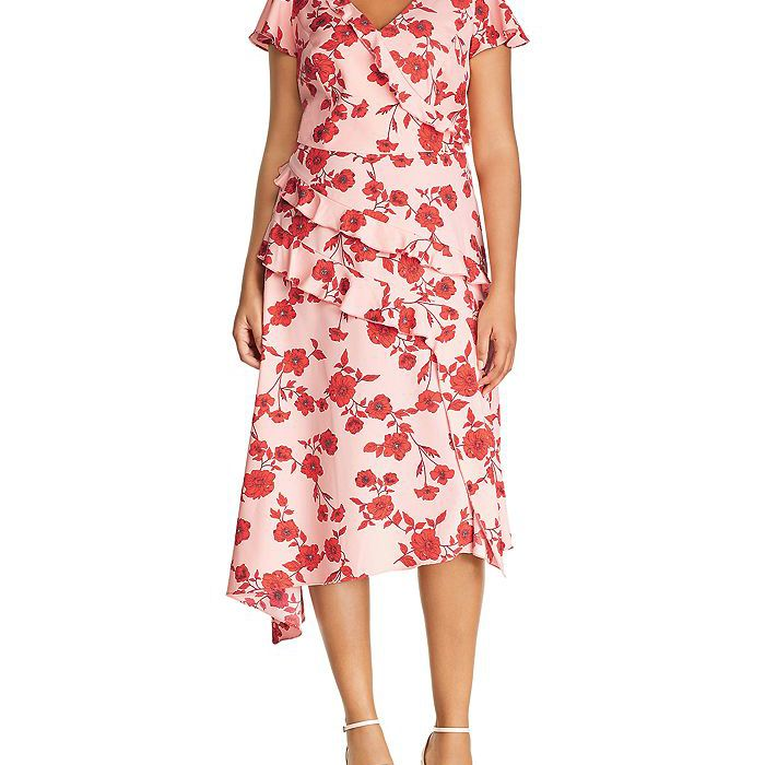 Adrianna Papell Plus Living Blooms Ruffle-Trim Dress, $179, on sale $93.98