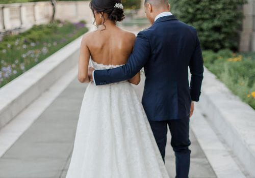 Bride and groom shot from back