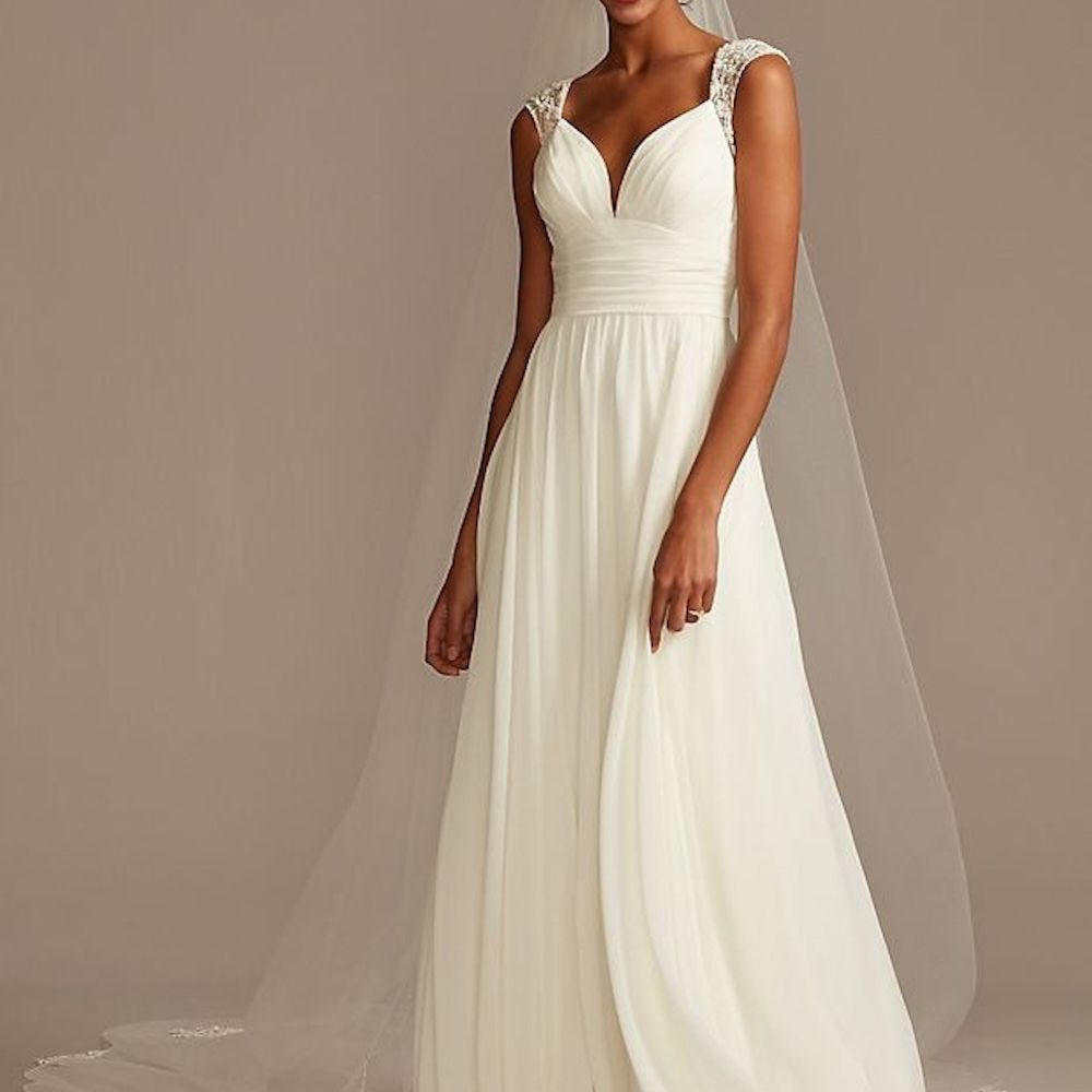 David's Bridal Beaded Keyhole Back Chiffon Wedding Dress