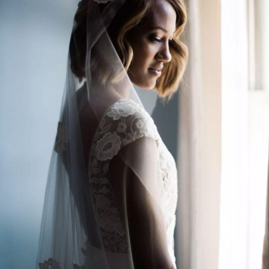 Bridal portrait with vintage style veil