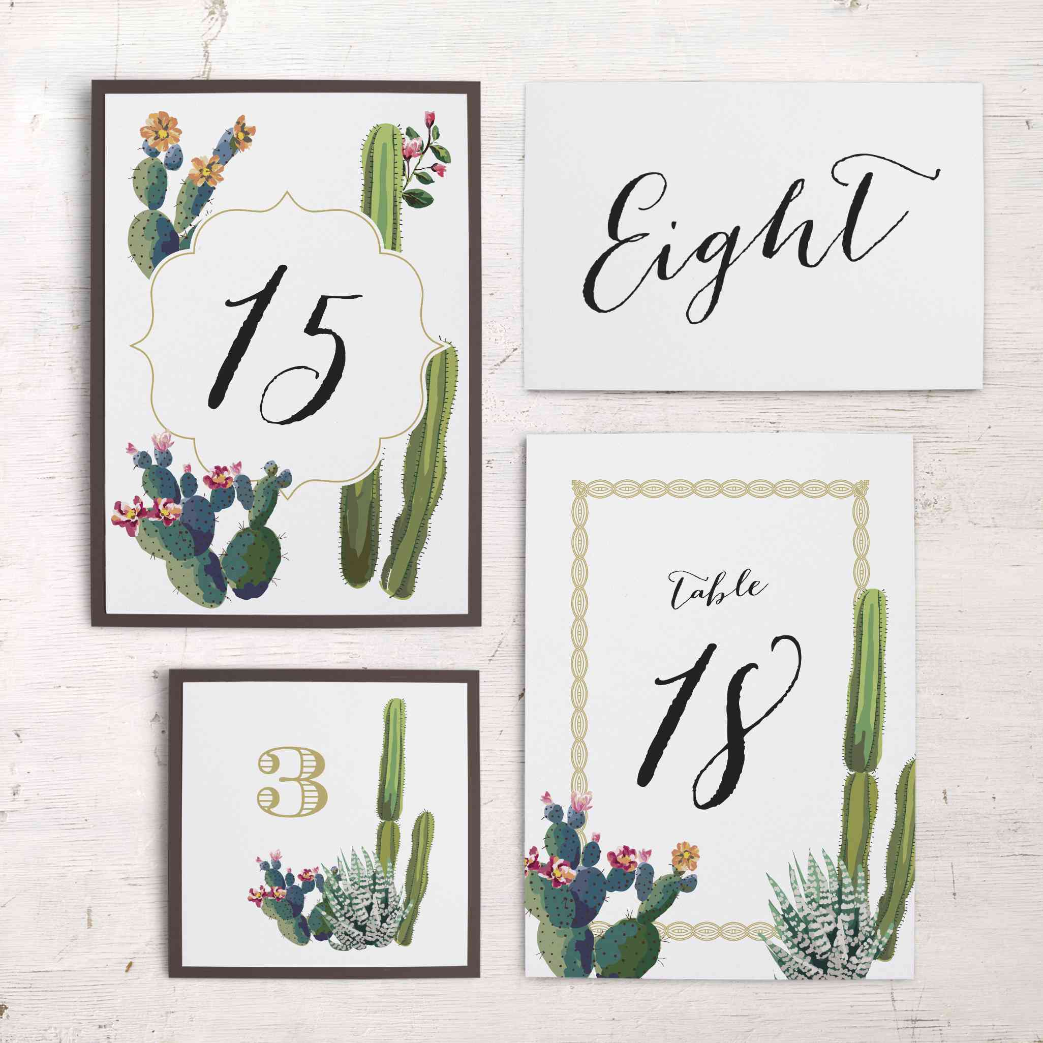 Cactus Table Number from Beacon Lane
