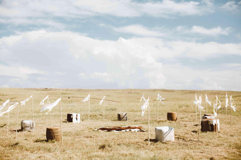 Flags in a field