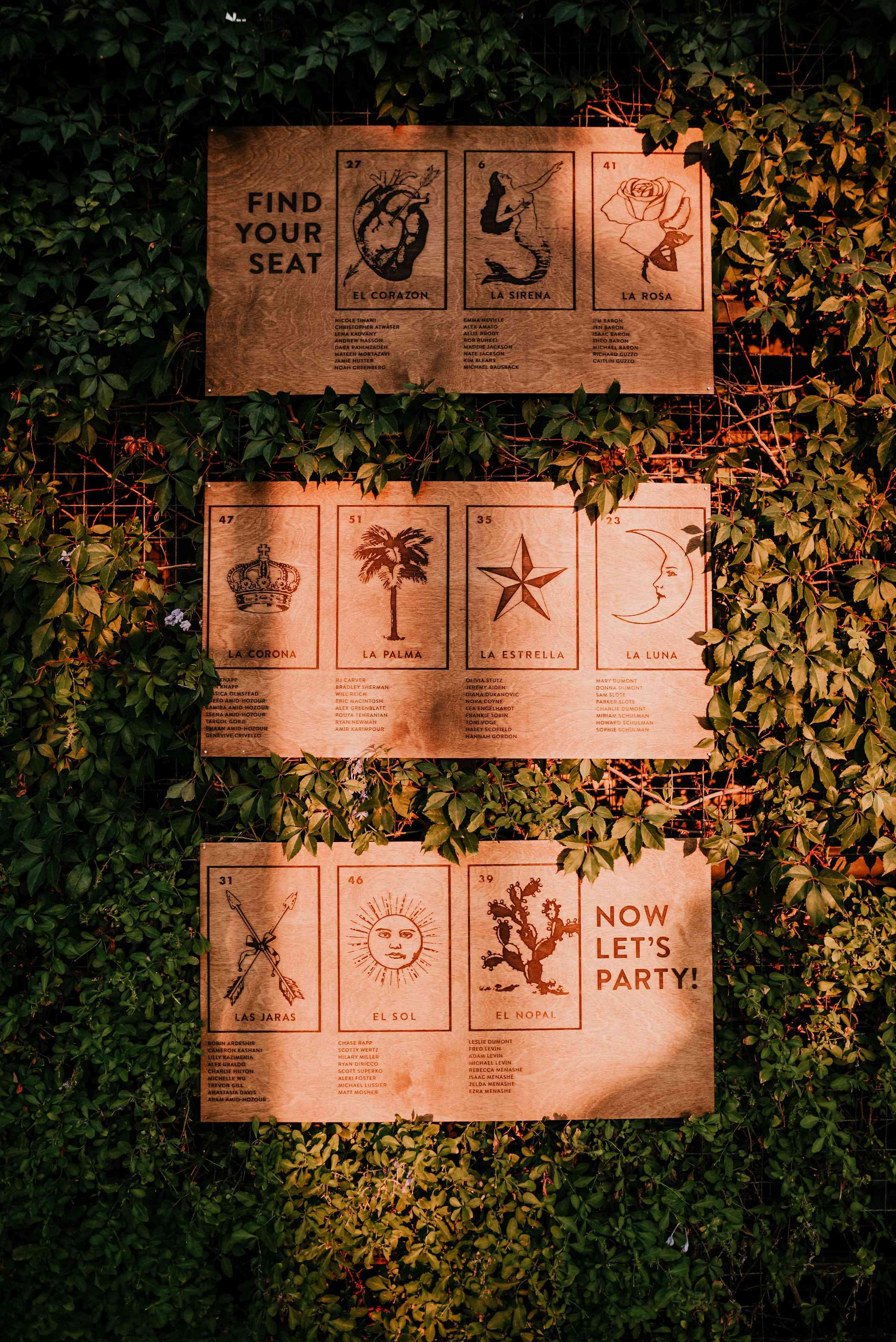 Seating arrangement cards