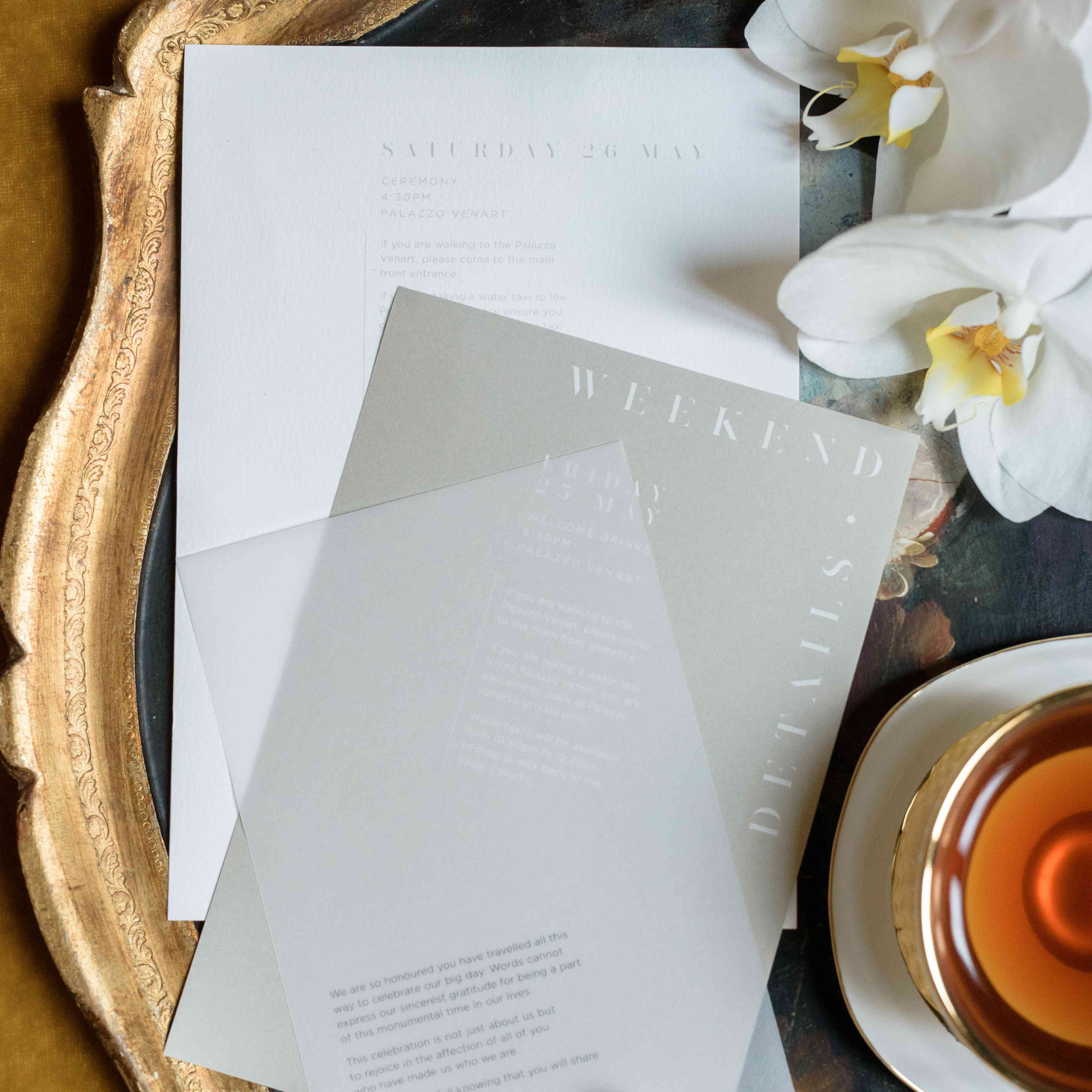 modern venice wedding, contemporary white and gray invitations