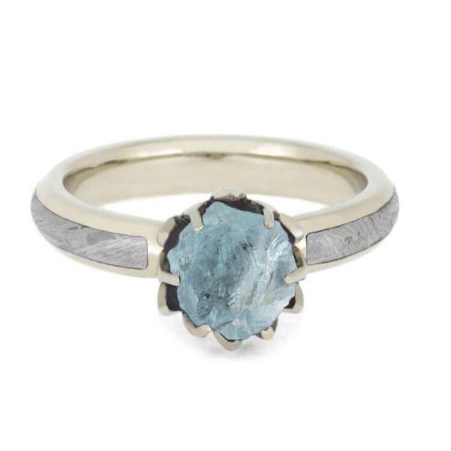 Rough Aquamarine Engagement Ring with Meteorite