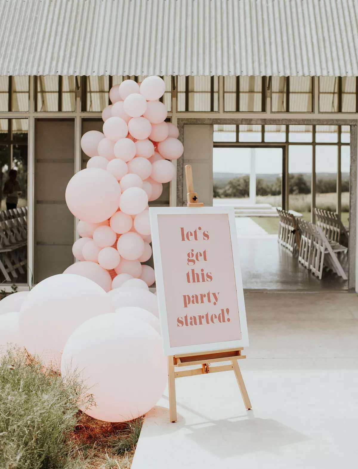 Millennial pink balloons decorating the entrance