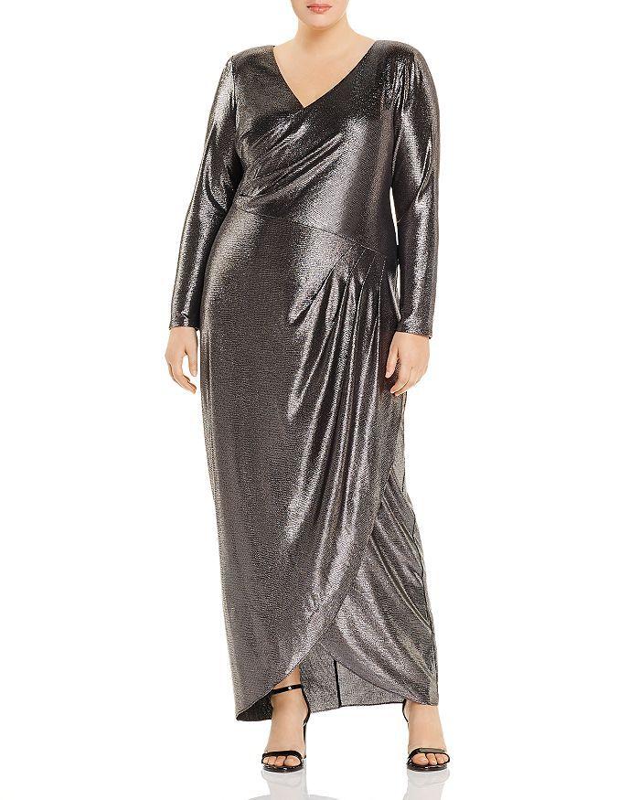 Adrianna Papell Plus Metallic V-Neck Gown, $229