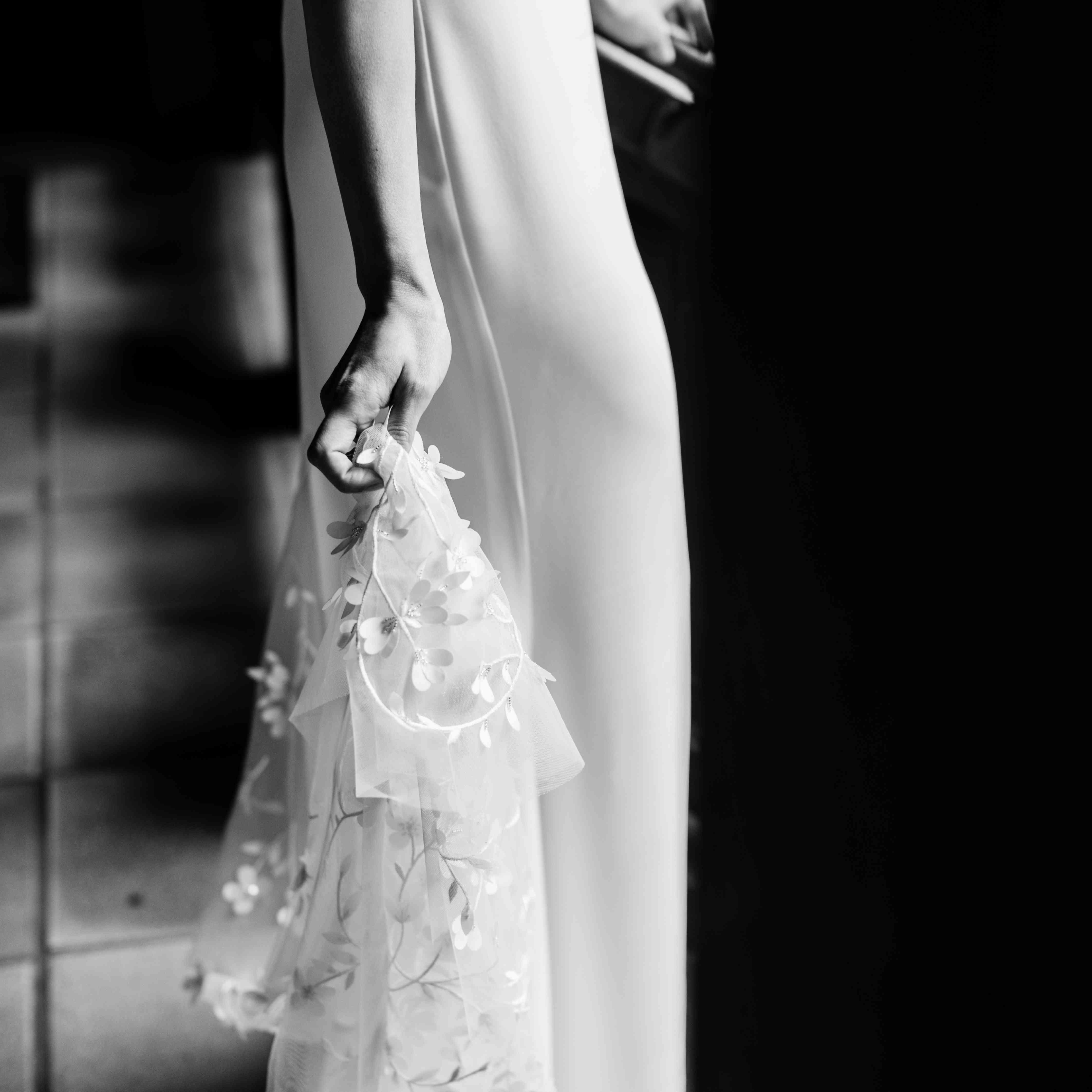 Bride's wedding dress detail