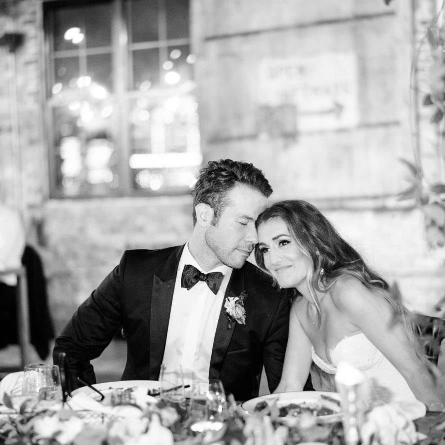 <p>Bride and groom at dinner</p><br><br>