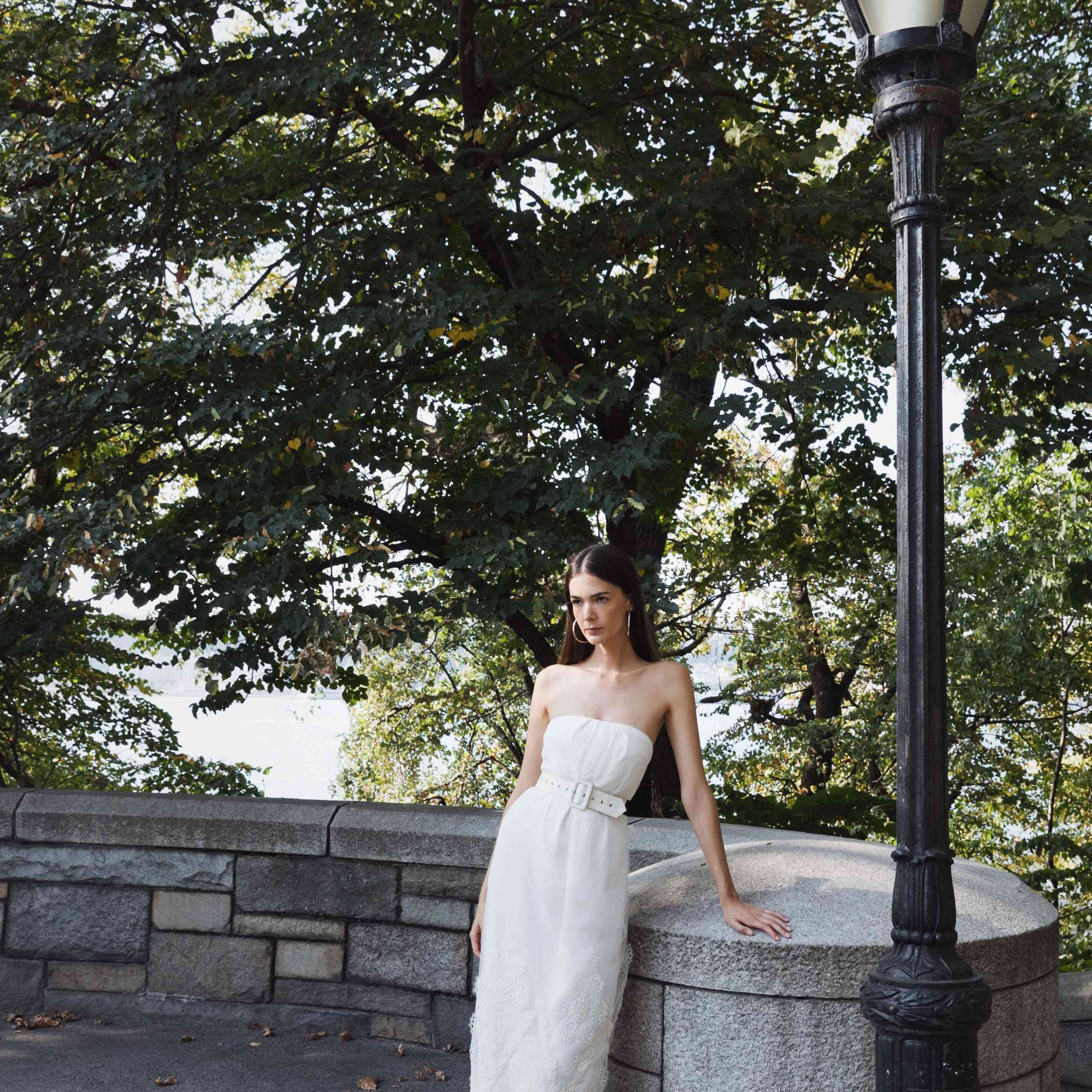 Model in strapless wedding dress