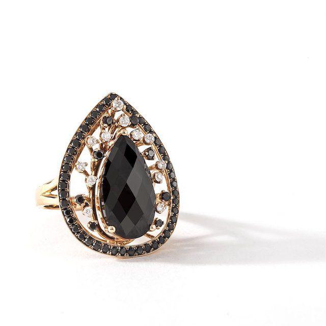 Chris Aire Pear Mystery Black Diamond Ring