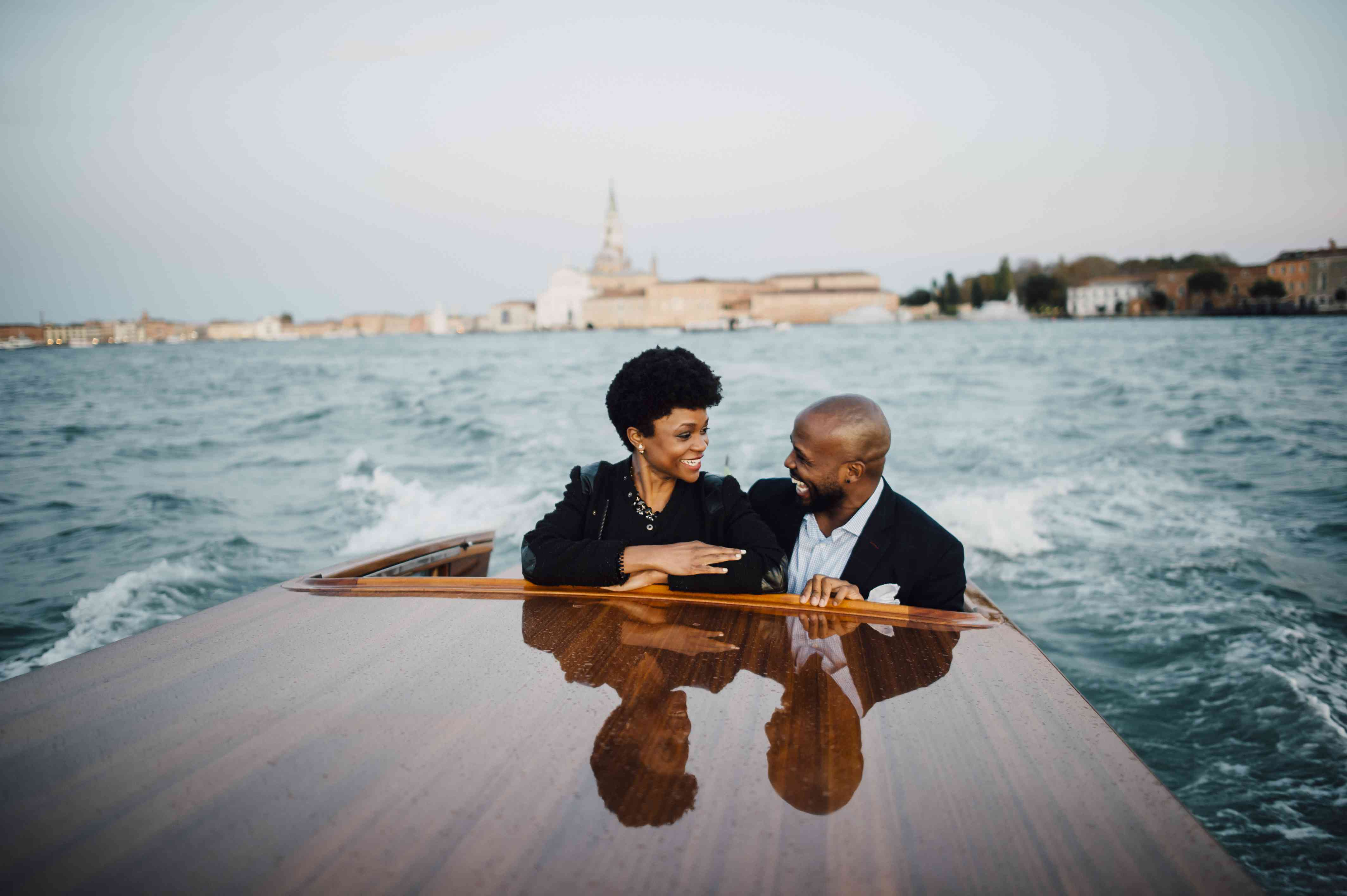 Couple on a speedboat