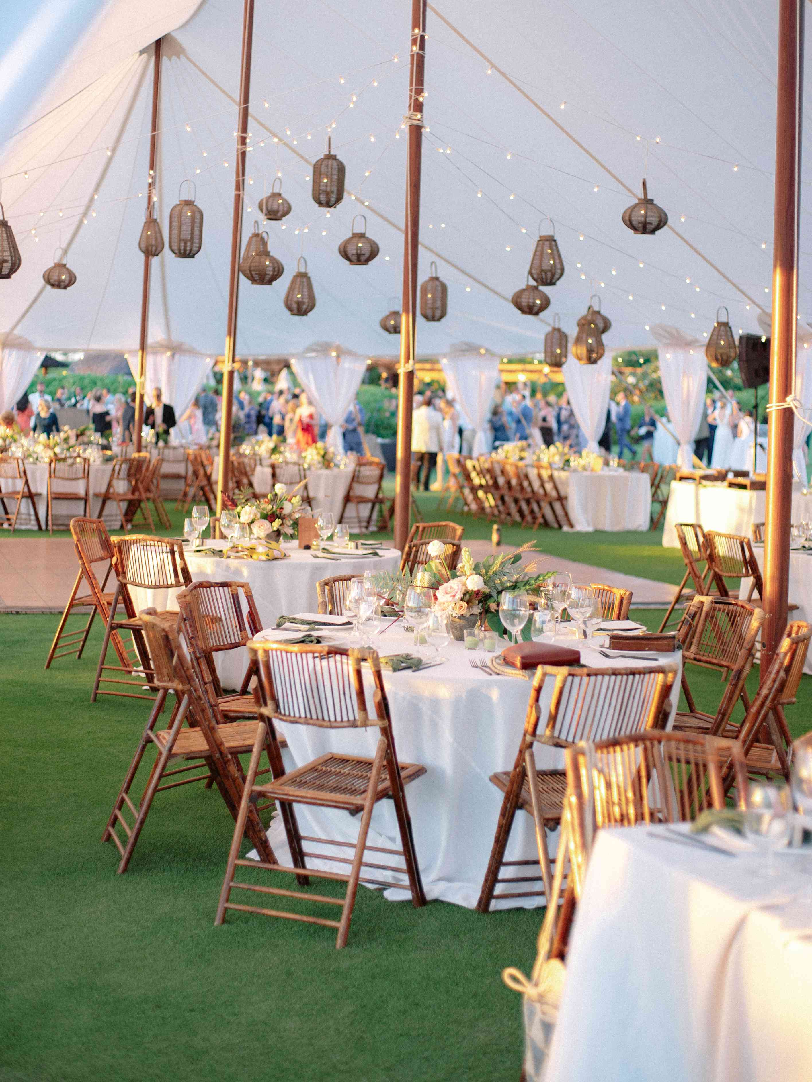 The reception tent at sunset