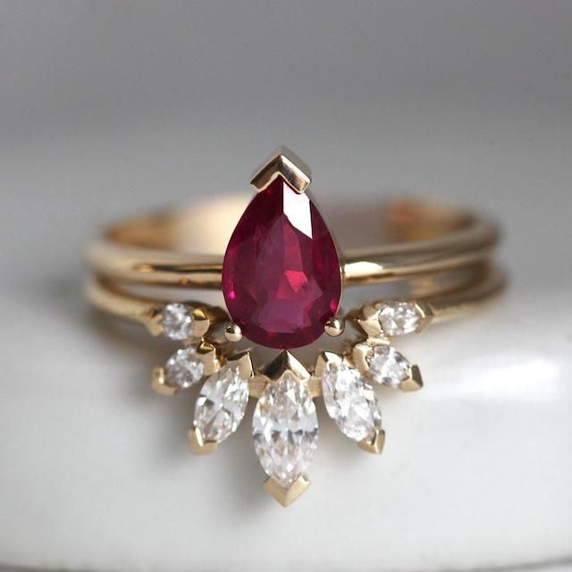 Natural Ruby Engagement Ring Set with Marquise Diamond Crown Ring