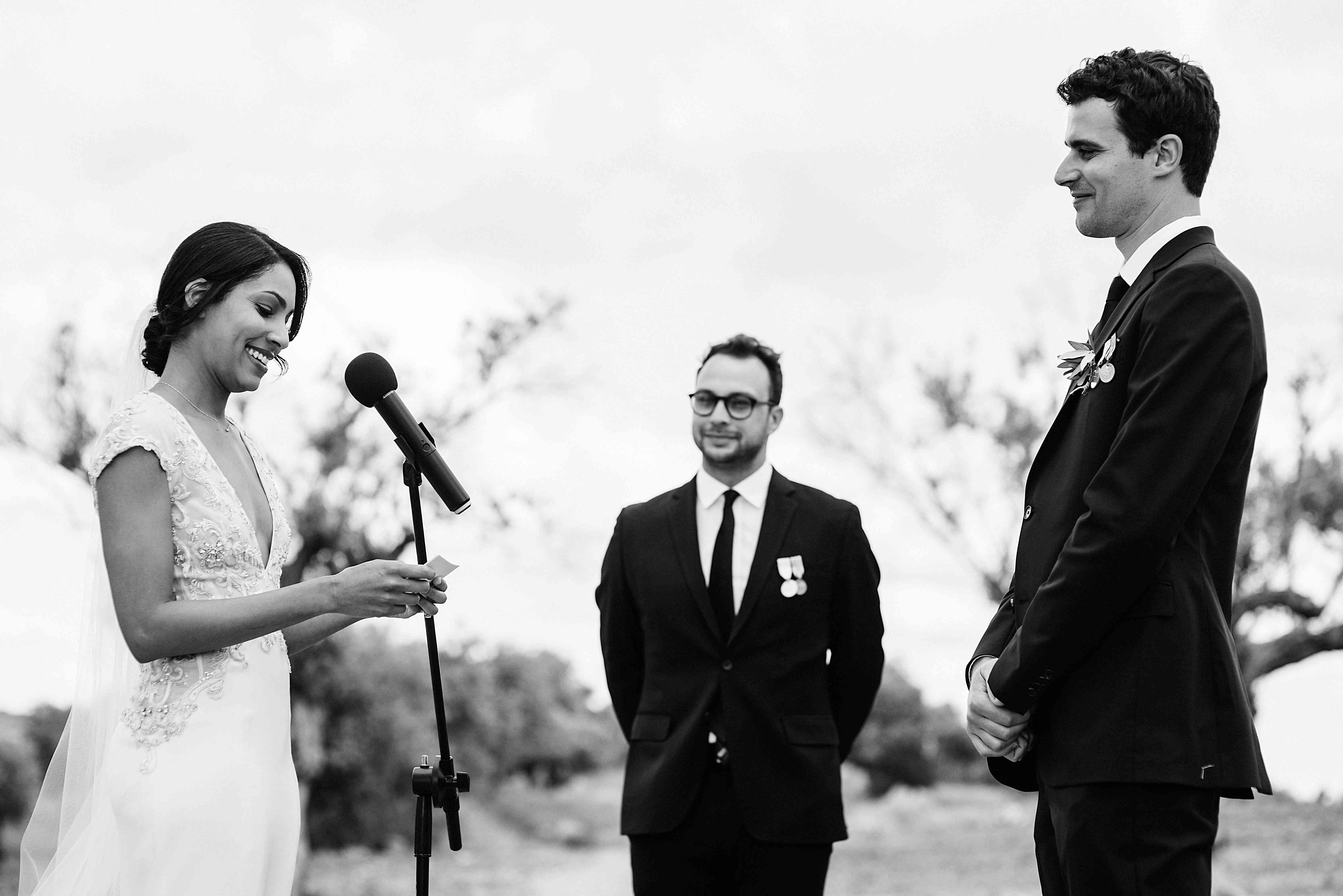 <p>Bride and groom reading vows</p><br><br>