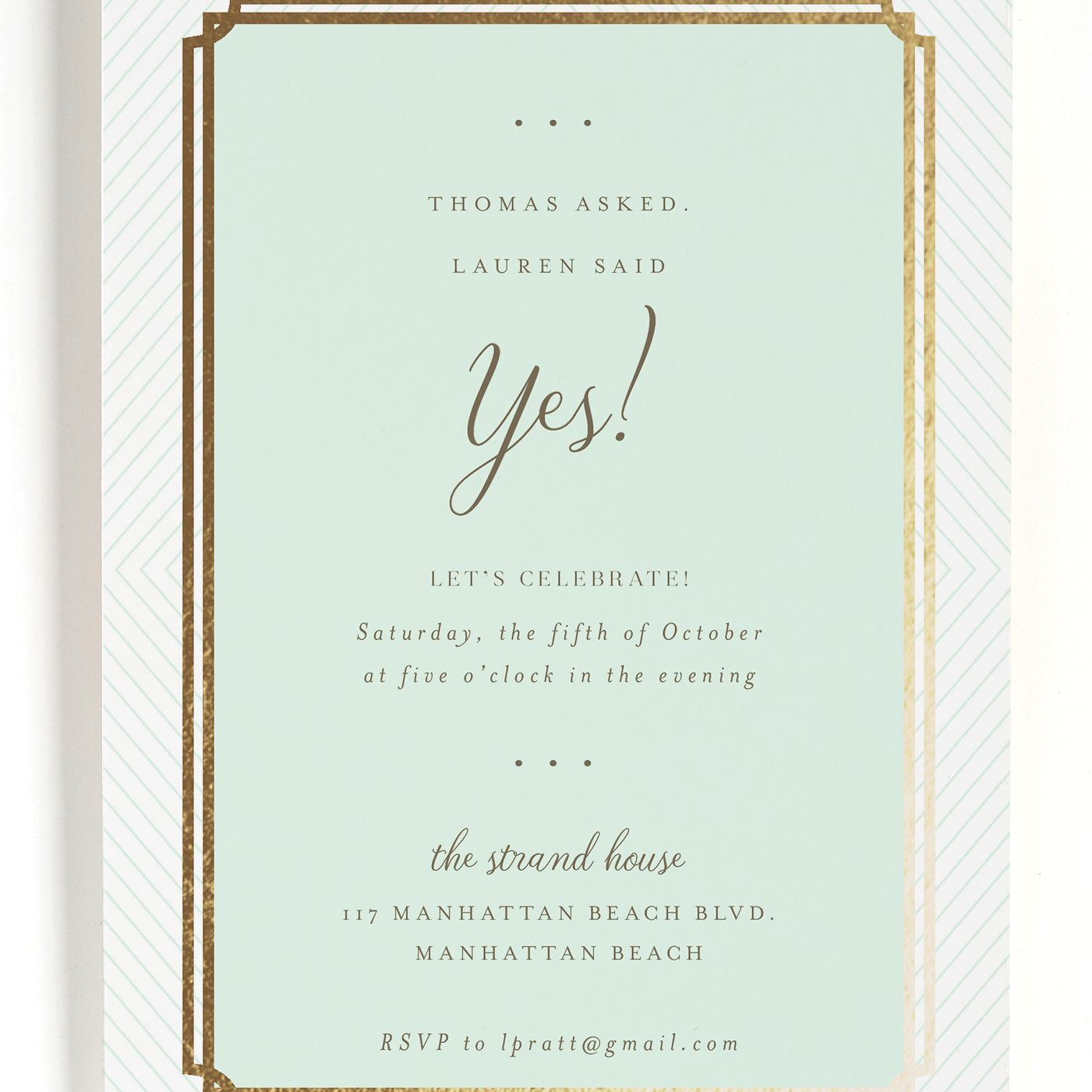 Mint and gold engagement party invitation