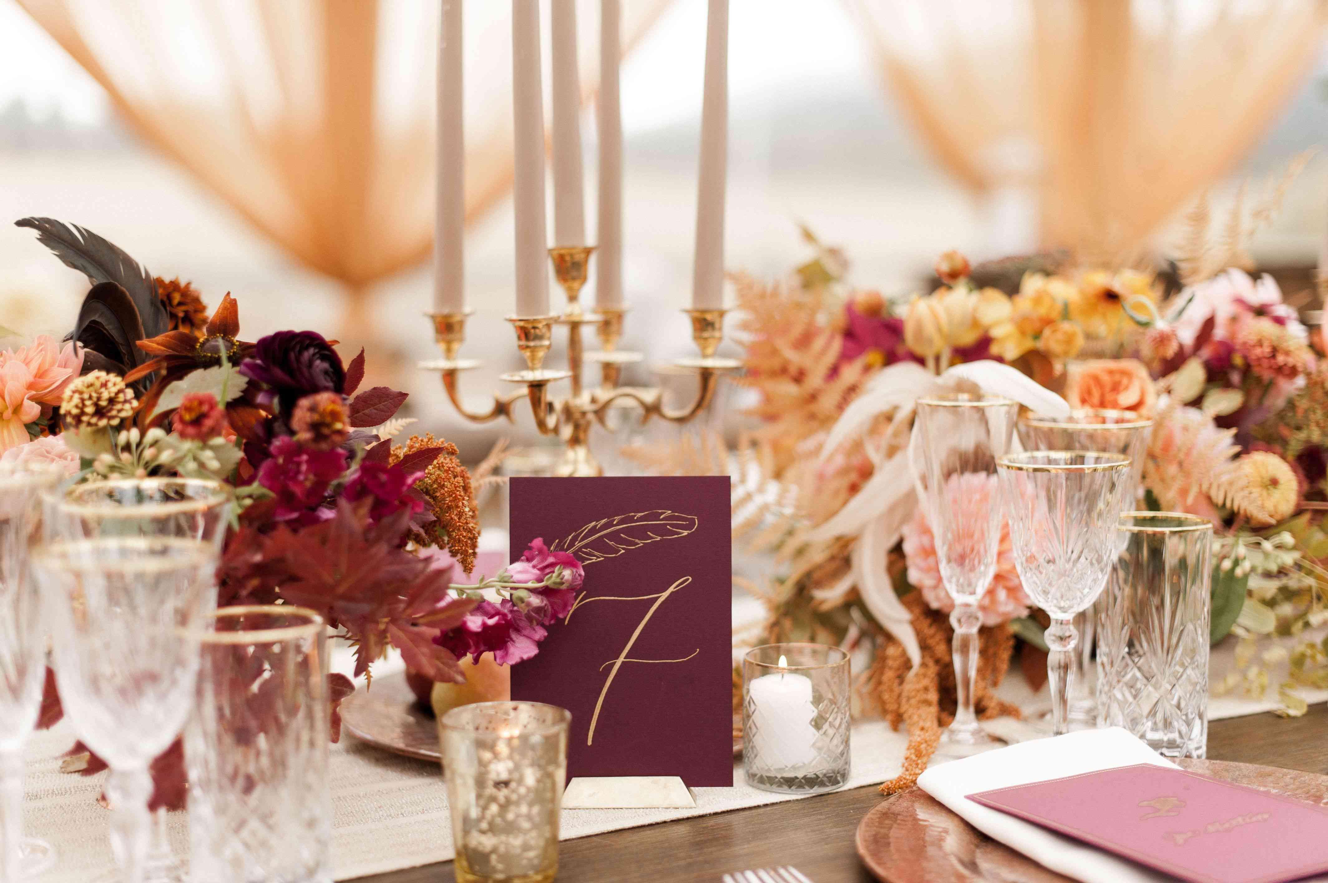 Burgundy table setting